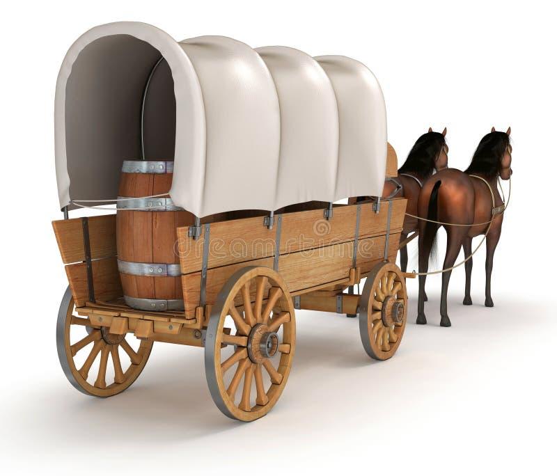 Koński furgon z baryłkami ilustracja wektor