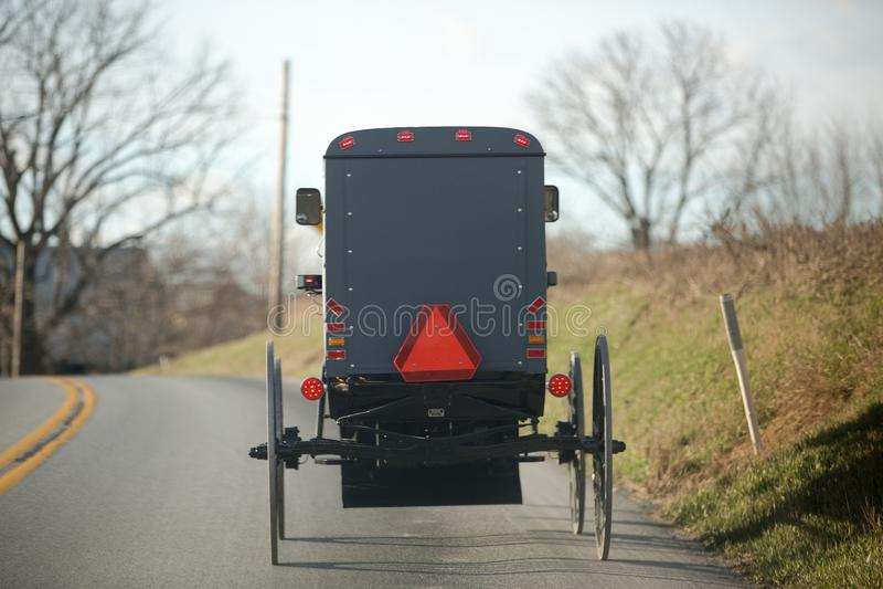 Koński furgonu powozik w Lancaster Pennsylvania Amish kraju fotografia royalty free