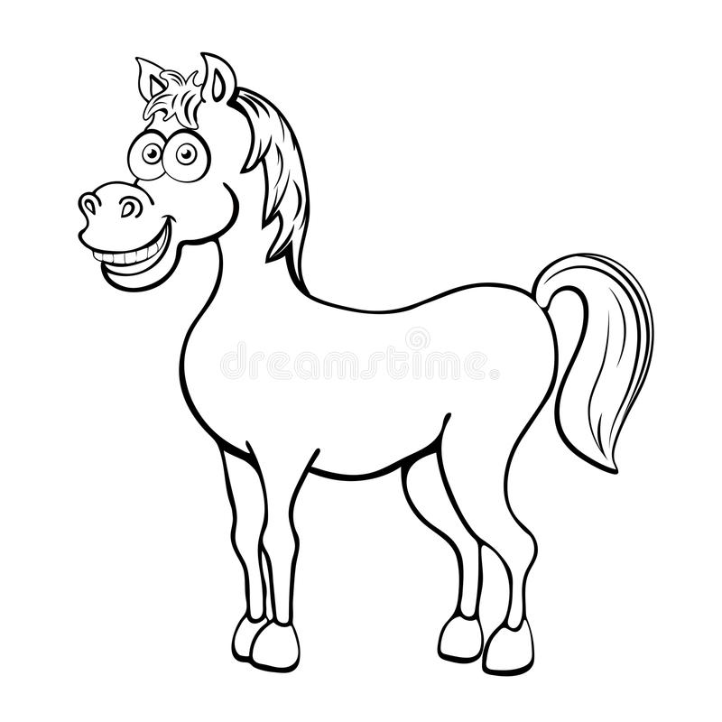 Koński kreskówka konturu rysunek, kolorystyka, nakreślenie, sylwetka, wektorowa czarny i biały kreskowa ilustracja Śmieszny ślicz royalty ilustracja