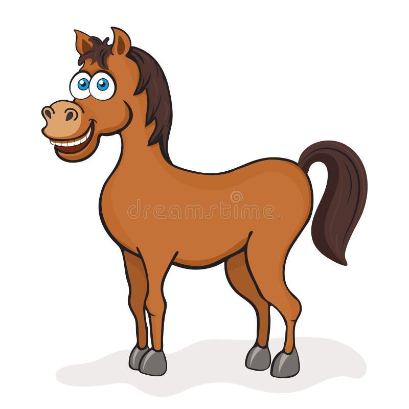 Koński kreskówka rysunek, wektorowa ilustracja Śmieszny śliczny malujący brown koń z niebieskimi oczami odizolowywającymi na biał ilustracja wektor