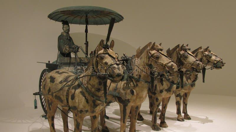 Koński rydwan robić w brązie z złota i srebra dekoracją obraz royalty free