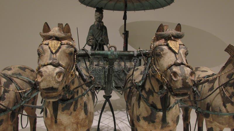 Koński rydwan robić w brązie z złota i srebra dekoracją zdjęcie stock