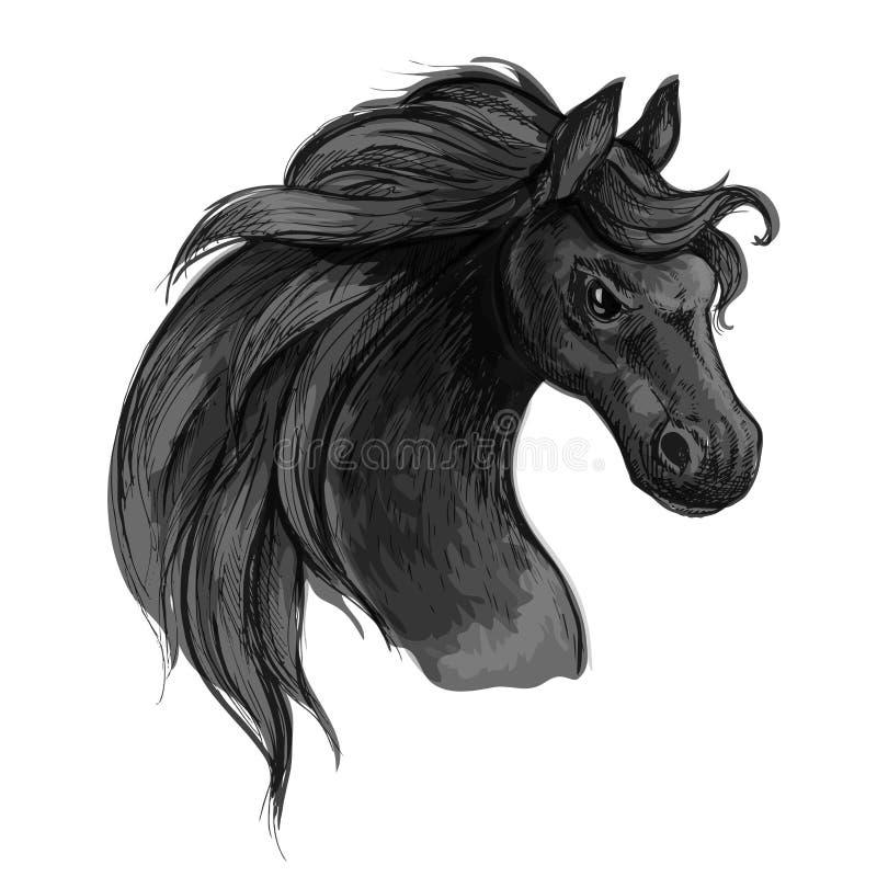 Koński sztuka portret Mustang z wściekać się oczy royalty ilustracja