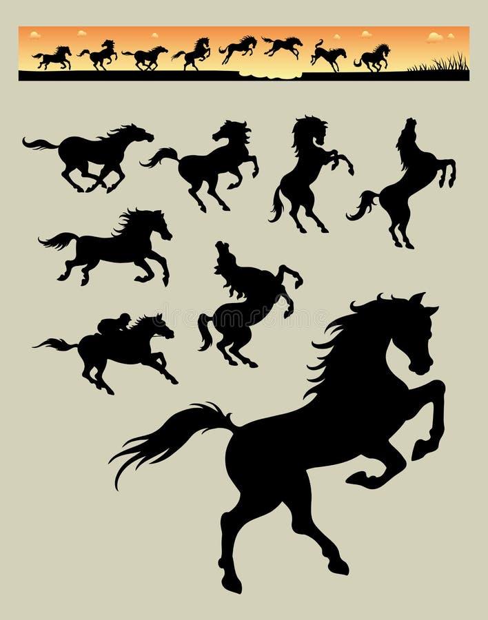 Końskie Działające sylwetki 1 royalty ilustracja