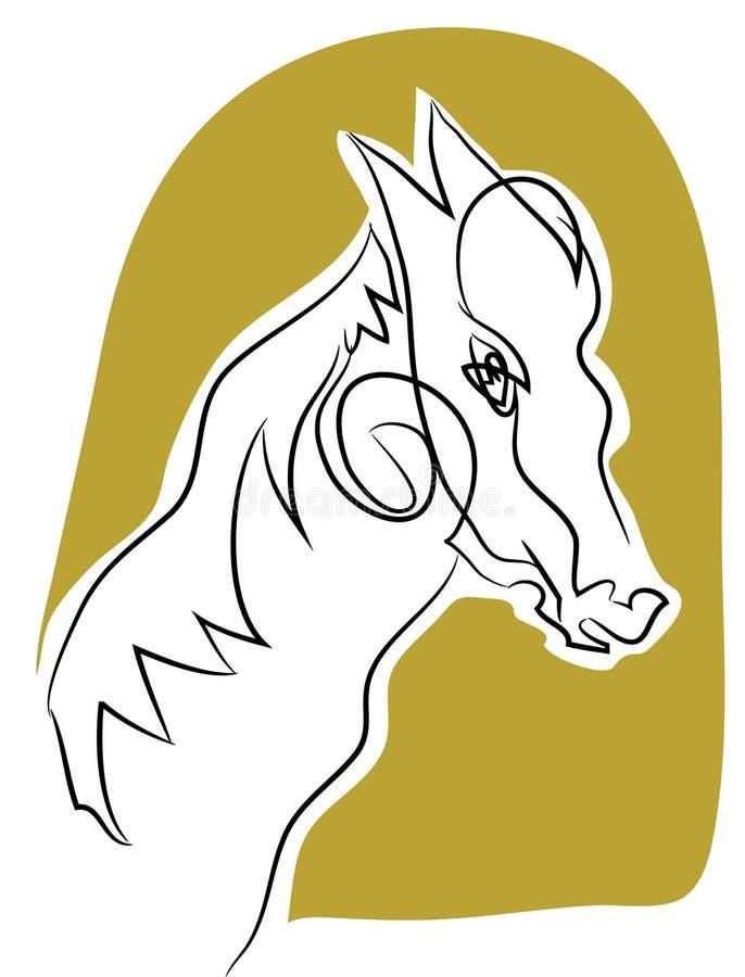 Końskiej głowy kreskowy rysunek ilustracja wektor