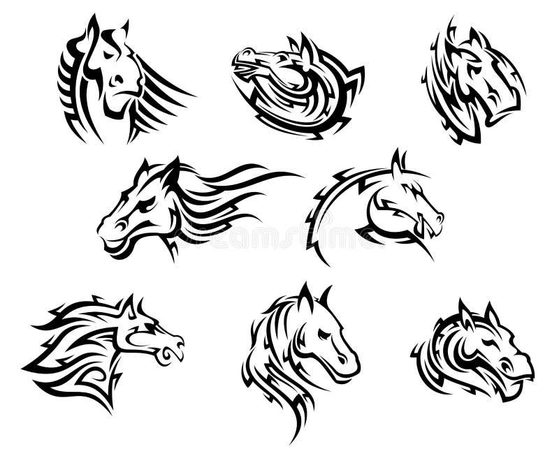 Końskiej głowy plemienni tatuaże ilustracji