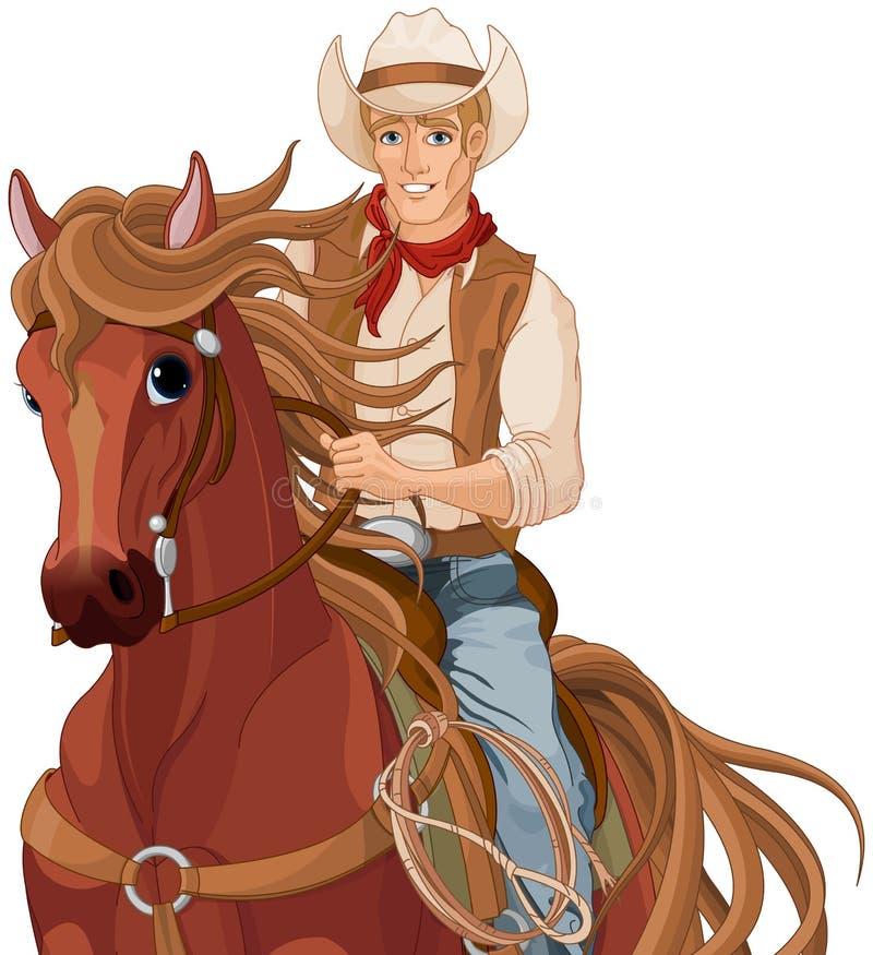 Końskiej jazdy kowboj ilustracja wektor