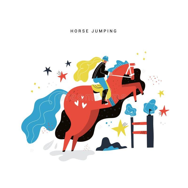 Końskiej jazdy płaska ręka rysująca ilustracja ilustracja wektor