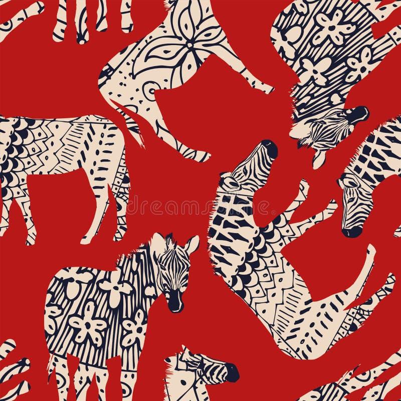 Końskiej zebry kolorystyki czerwieni abstrakcjonistyczny tło ilustracja wektor