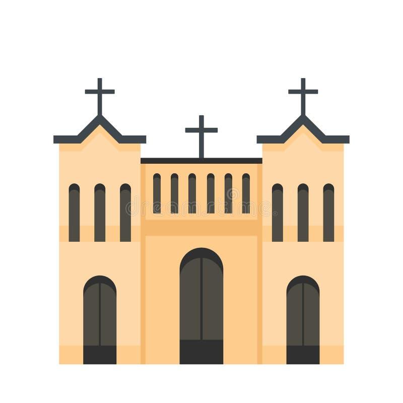 Kośćiół Protestancki ikona, mieszkanie styl ilustracja wektor