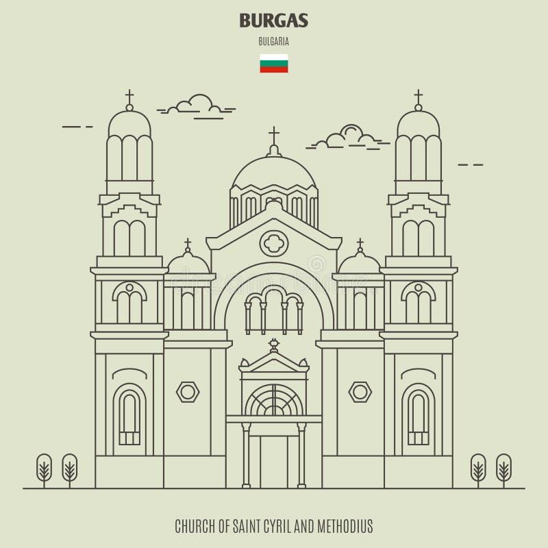 Kościół Świątobliwy Cyril i Methodius w Burgas, Bułgaria Punkt zwrotny ikona royalty ilustracja