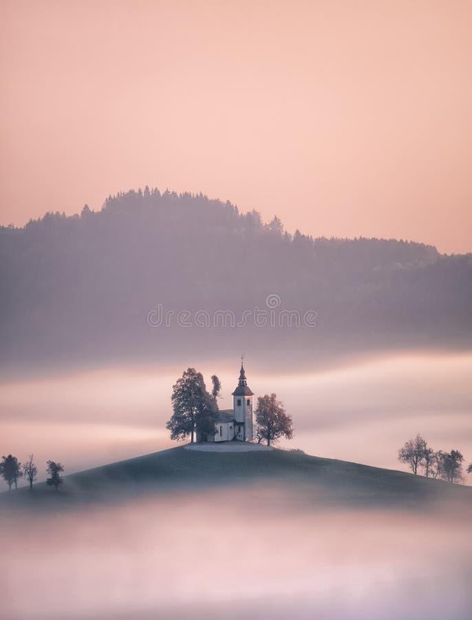 Kościół Świątobliwy Tomas, Slovenia wyłania się od mgły fotografia stock