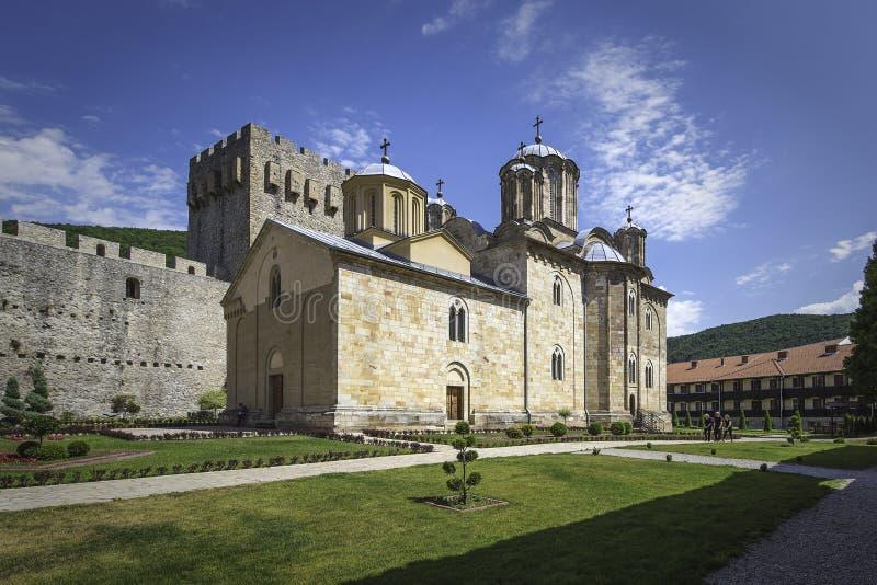 Kościół Święta trójca wśrodku monasteru Manasija obraz stock