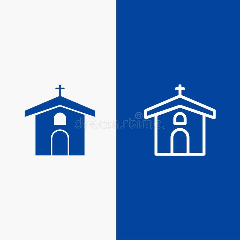 Kościół, świętowania, chrześcijanina, krzyża, wielkanocy linii i glifu Stałej ikony sztandaru glifu, Błękitnej ikony błękita Stał ilustracji