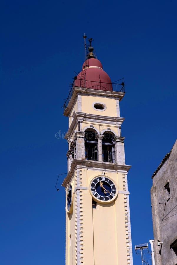 : kościół święty Spyridonas w starym miasteczku Corfu Grecja zdjęcie stock