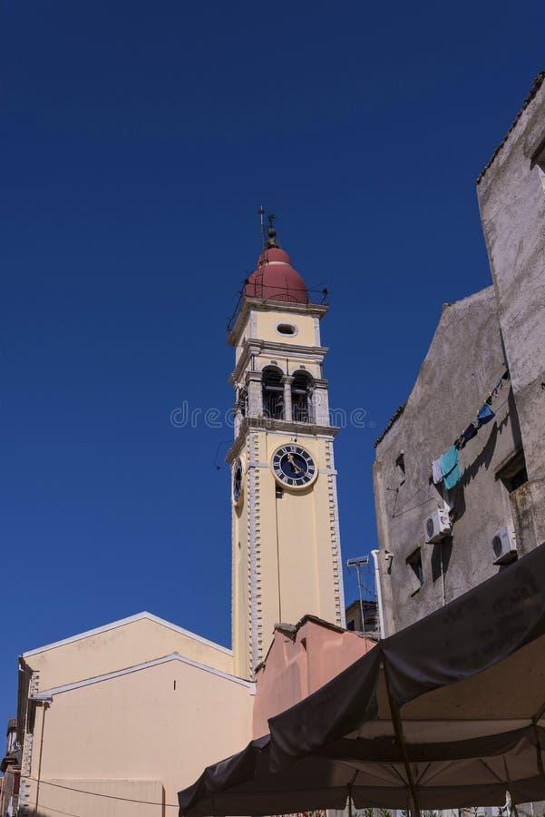 : kościół święty Spyridonas w starym miasteczku Corfu Grecja obrazy royalty free