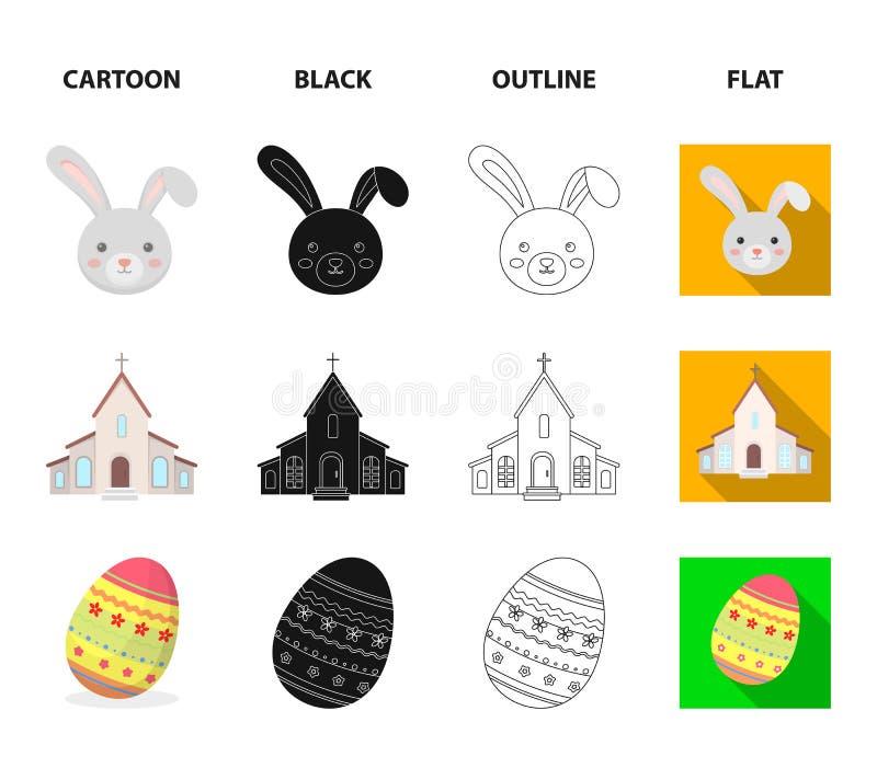 Kościół, świeczka, Easter królik i malujący jajko, Wielkanocy ustalone inkasowe ikony w kreskówce, czerń, kontur, mieszkanie styl ilustracja wektor