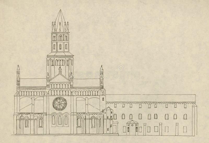 kościół 3 Vercelli we włoszech ilustracji