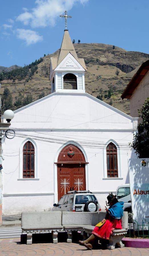 Kościół Alausi, Ekwador zdjęcia royalty free