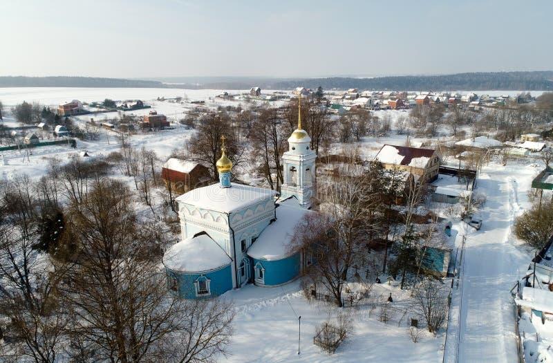 Kościół Annunciation Święta dziewica w wiosce Salkovo, Podolsk okręg, Moskwa region, Rosja obrazy royalty free