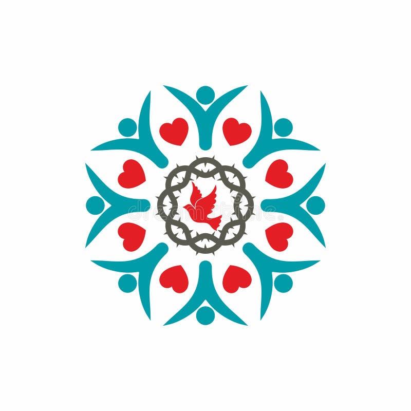 Kościół Chrześcijańskiego logo Jednoczący wiarą w bóg ilustracja wektor