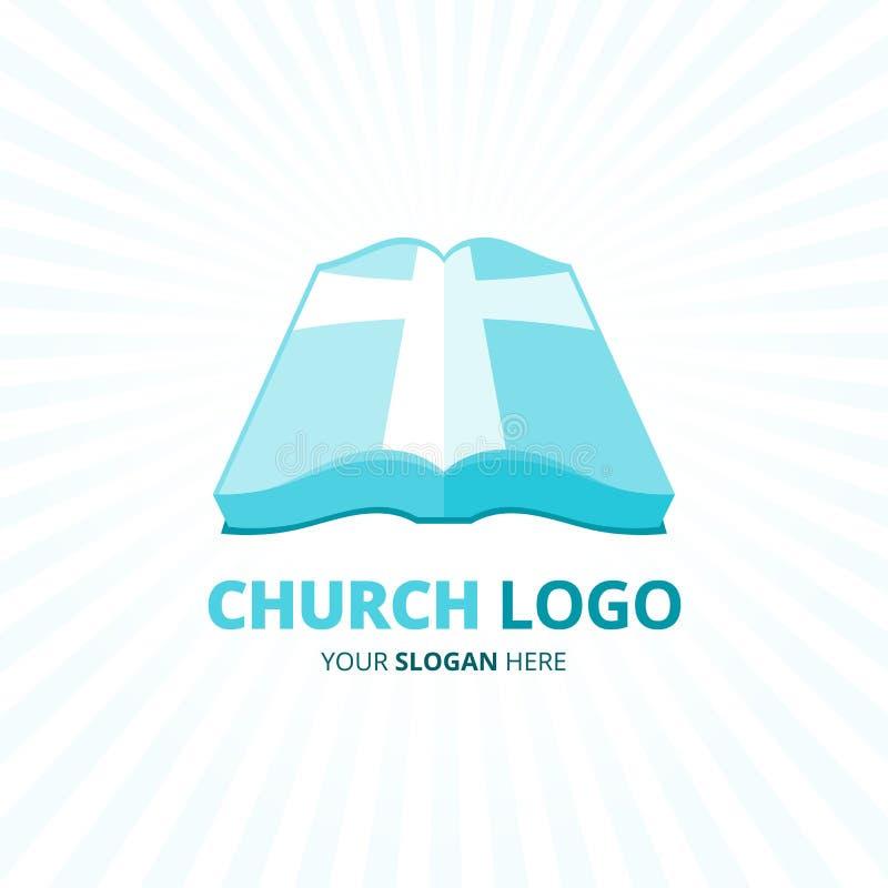 Kościół Chrześcijańskiego logo z błękitną biblia krzyża ikoną również zwrócić corel ilustracji wektora royalty ilustracja