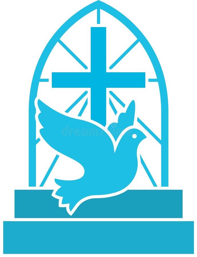 Kościół Chrześcijańskiego logo z gołąbką, krzyżem i schodkami latania, Mieszkanie odizolowywający wektorowy ikona symbol dla nadz ilustracji