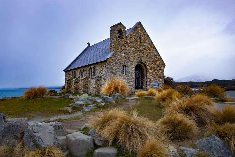 Kościół dobry pasterski znacząco punkt zwrotny i podróżny miejsce przeznaczenia blisko jeziornego tekapo południowej wyspy nowy Z zdjęcia stock