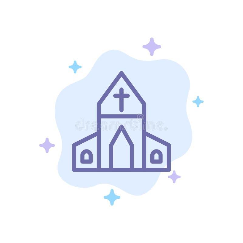 Kościół, dom, wielkanoc, Przecinająca Błękitna ikona na abstrakt chmury tle royalty ilustracja