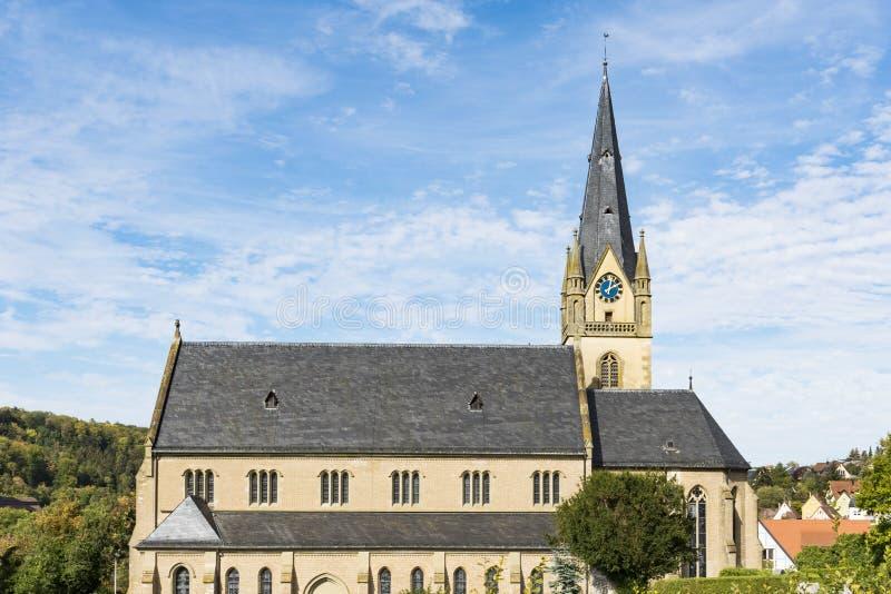Kościół dzwonił Pfarrkirche w Laudenbach Weikersheim, Niemcy obraz stock