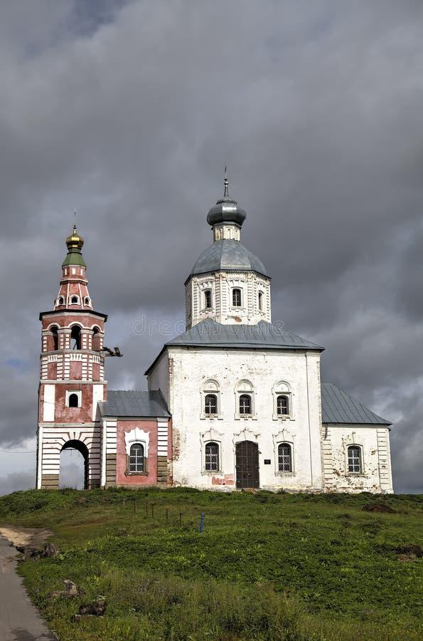 Kościół Elijah profet przy Ivanova żalem w chyle Kamenka rzeka Suzdal obraz royalty free