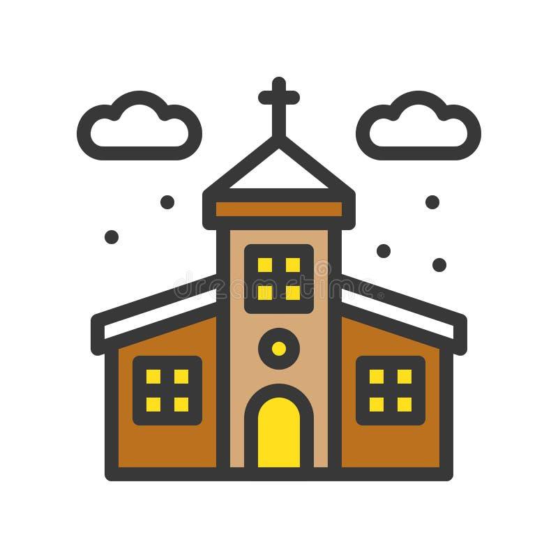Kościół i śnieżny spadek, Wesoło boże narodzenia odnosić sie ikona set, wypełniający o royalty ilustracja