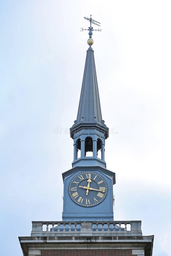 Kościół iglica i zegar obraz stock