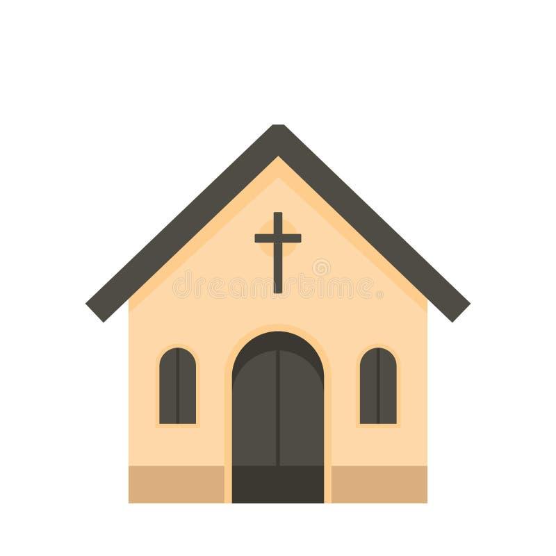 Kościół Katolicki ikona, mieszkanie styl ilustracja wektor