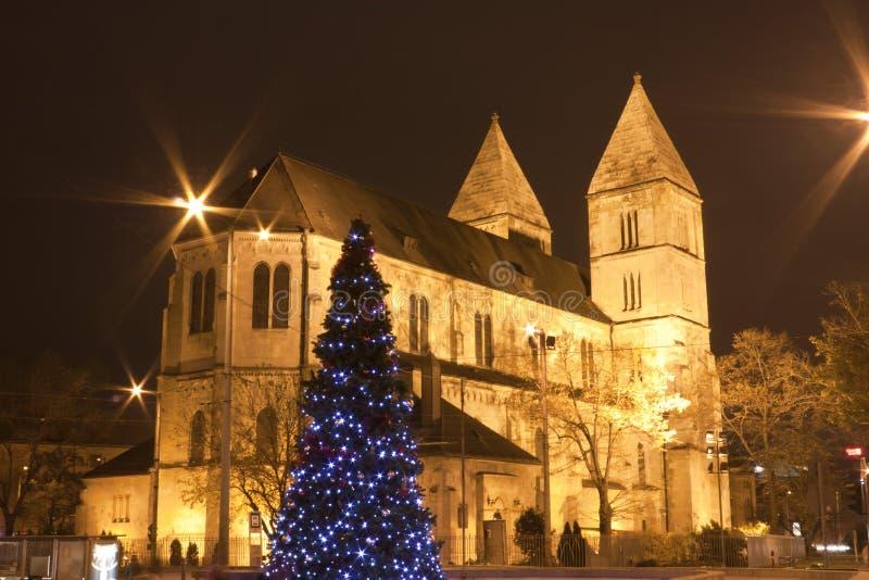 Kościół Katolicki przy christmastime w Budapest obrazy royalty free