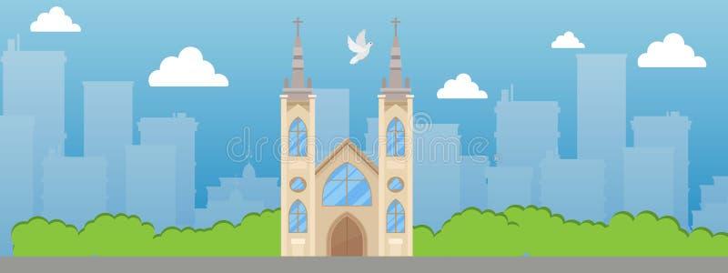 Kościół Katolicki z iglicy i witrażu okno sztandaru wektoru ilustracją Piękny miejsce w mieście Katolicki rzymianin royalty ilustracja