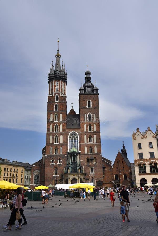 Kościół Mariacki lub St Marys kościół w Krakow Polska zdjęcia royalty free
