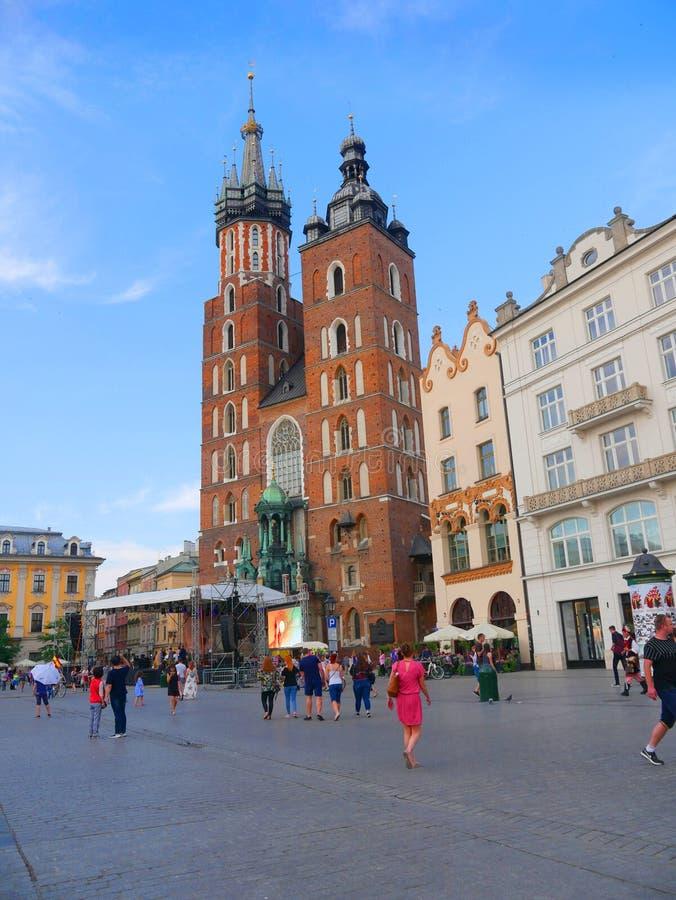 Kościół Mariacki lub St Marys kościół w Krakow Polska zdjęcie royalty free