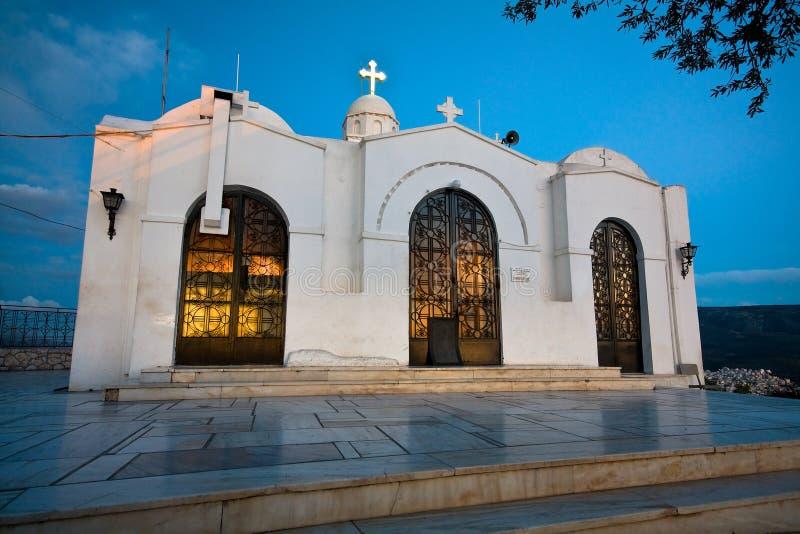 Kościół na górze Lycabettus wzgórza w Ateny fotografia stock