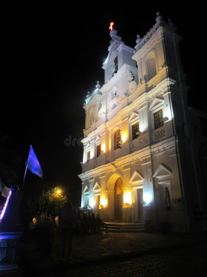 Kościół Nasz dama Niepokalany poczęcie w Panaji przy nocą zdjęcia royalty free
