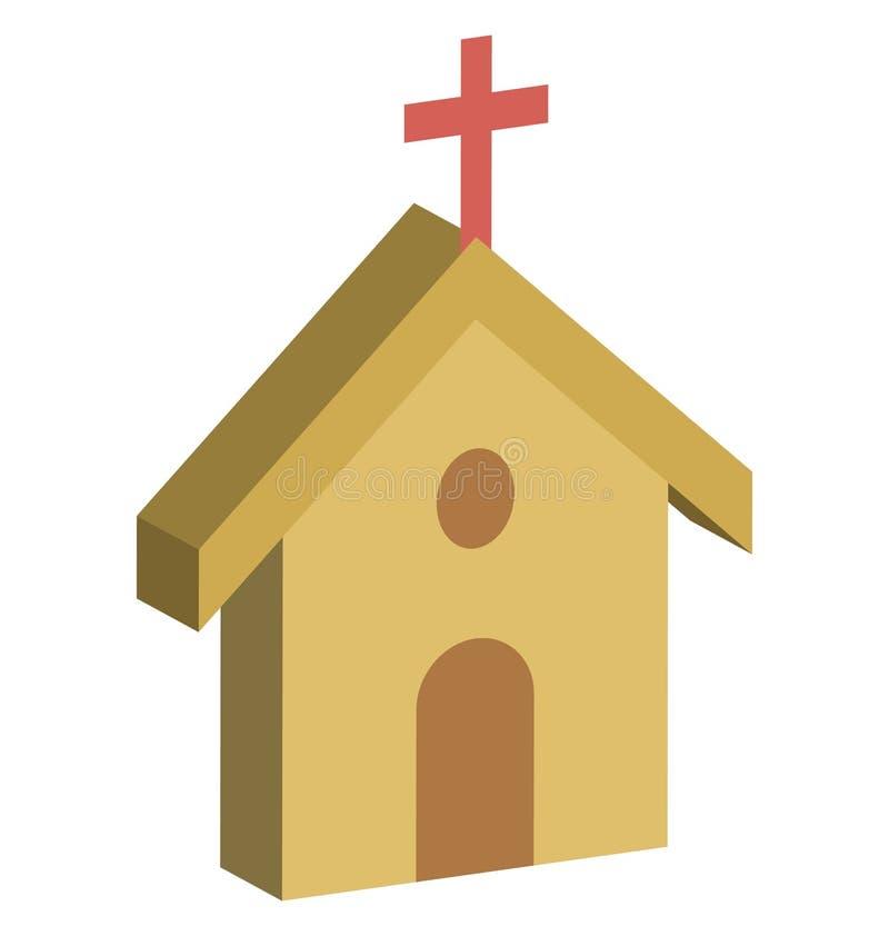 Kościół Odizolowywał Isometric Wektorową ikonę która może łatwo redagować lub modyfikować ilustracji