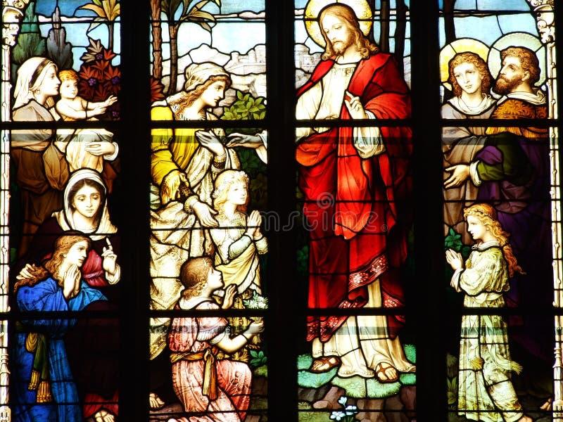 kościół, okno, szkło, plamiący, witraż, religia, katedra, Mary, religijny, Christ, architektura, sztuka, wiara, bóg zdjęcia stock