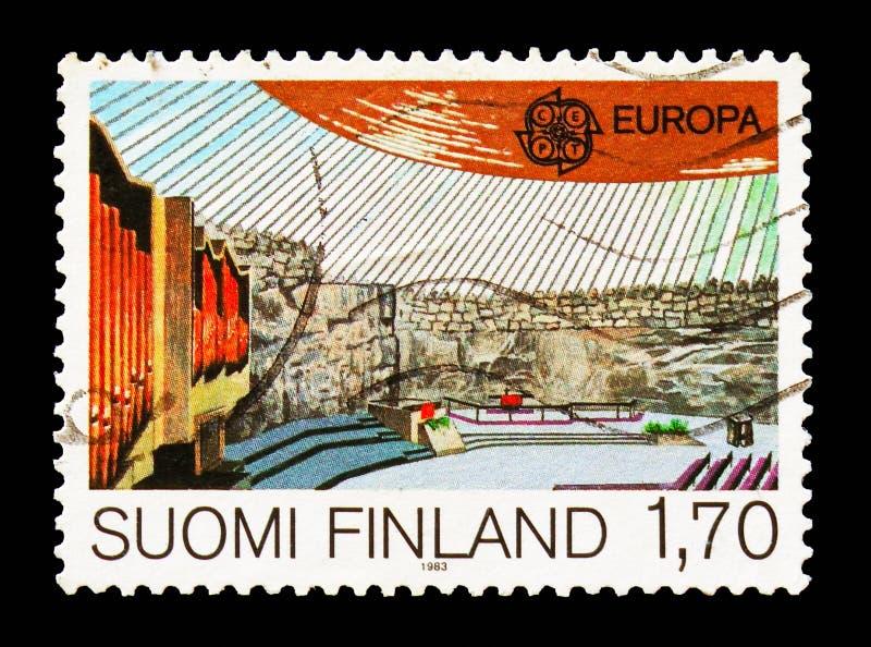 Kościół przy Świątynnym kwadratem, Helsinki, Europa CEPT 1983 - Wielcy osiągnięcia Ludzki Genialny seria około 1983, obrazy stock