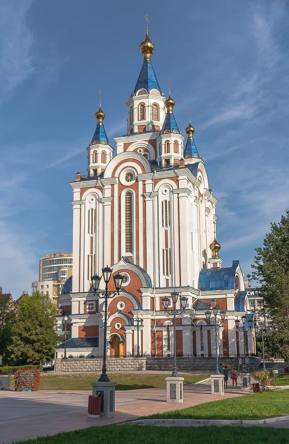 Kościół przypuszczenie błogosławiony maryja dziewica w Khabarovsk obrazy royalty free