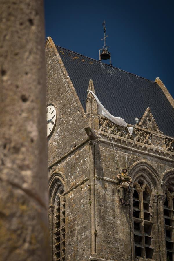 Kościół Sainte-Mère-à ‰ glise w Normandy, Francja fotografia royalty free