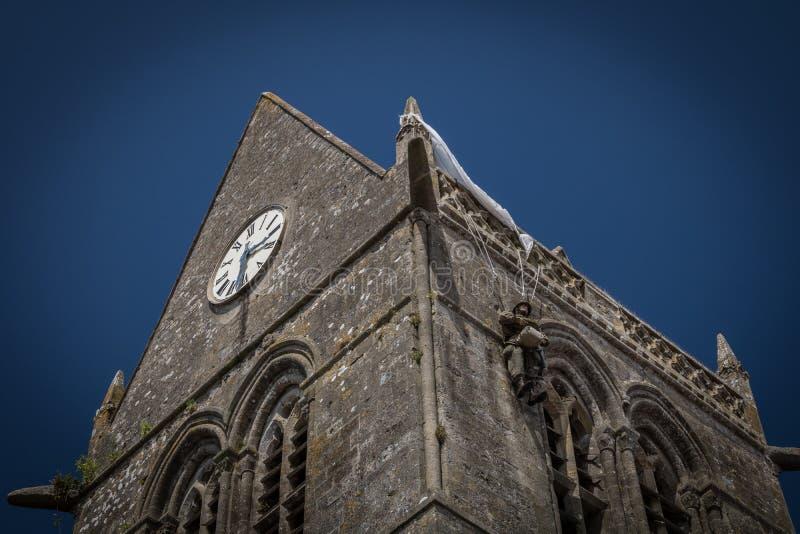 Kościół Sainte-Mère-à ‰ glise w Normandy, Francja obraz royalty free