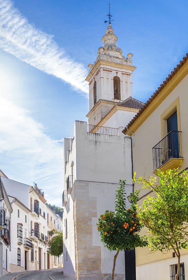 Kościół San Sebastià ¡ n w Estepa, prowincja Seville Powabna biała wioska w Andalusia Południowy Hiszpania zdjęcia stock