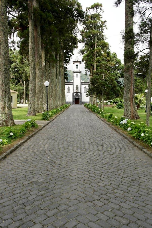 Kościół Sete Cidades, Sao Miguel, Portugalia zdjęcie stock