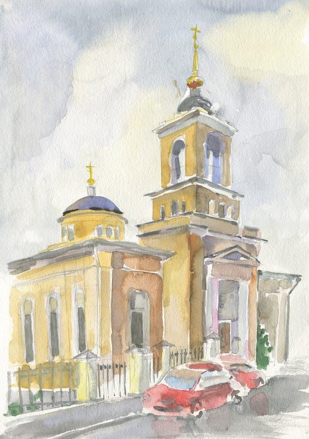 Kościół St Athanasius i Cyril na Sivtsev wąwozie royalty ilustracja