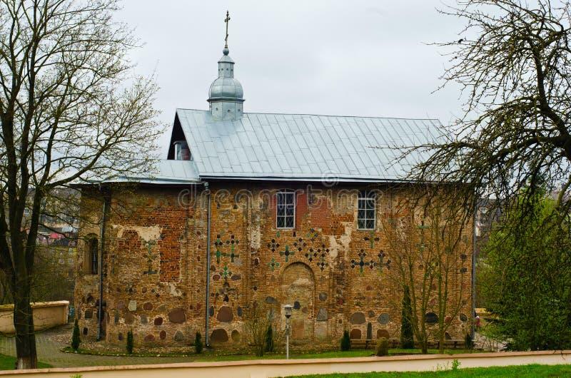 Kościół St Boris, Gleba i Kalozhskaya w wiośnie, Grodno, Białoruś obraz royalty free